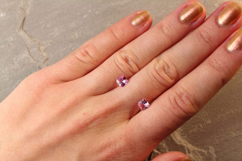 1.23 ct pink radiant sapphire pair