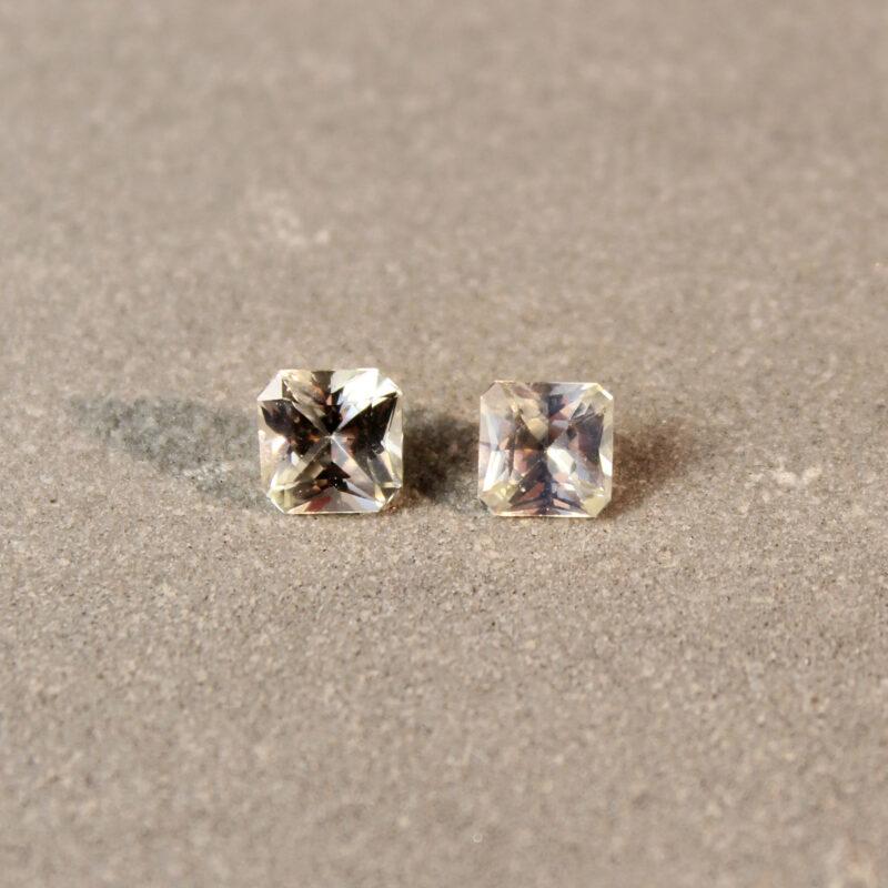 1.26 ct light yellow radiant sapphire pair