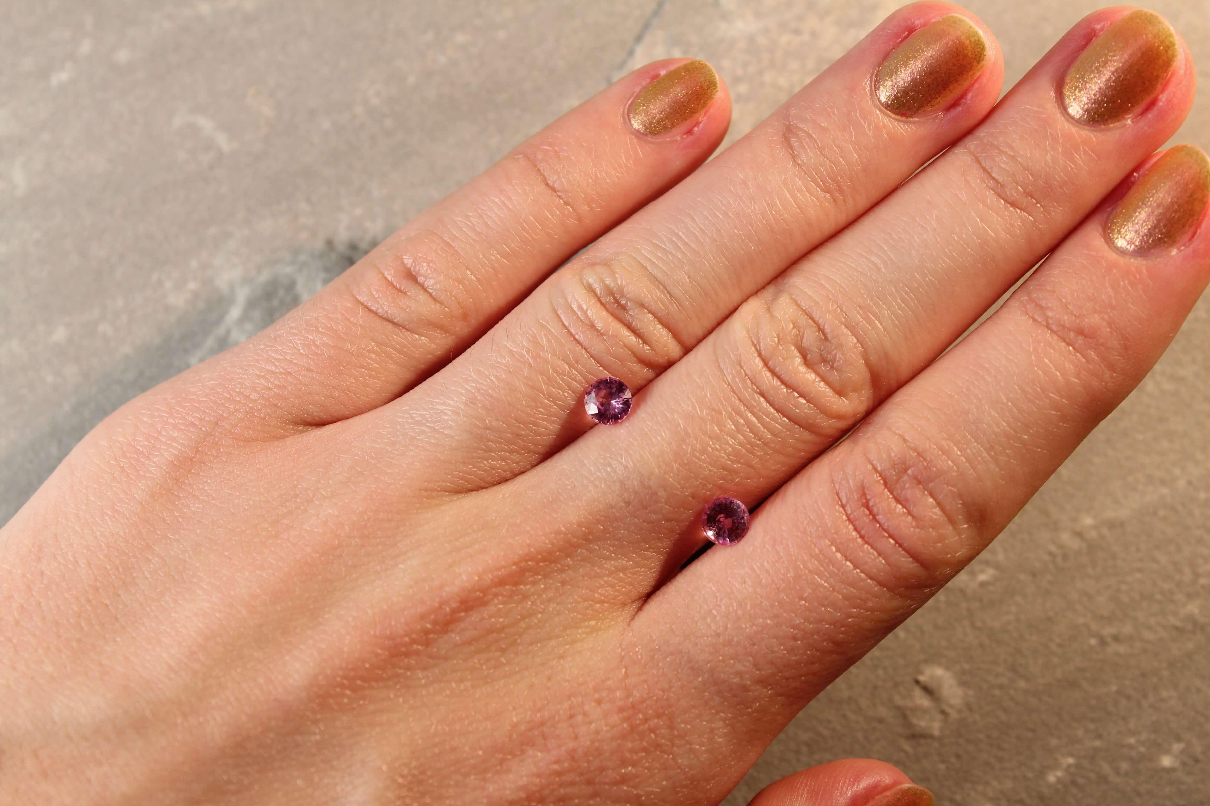 1.28 ct pink round sapphire pair