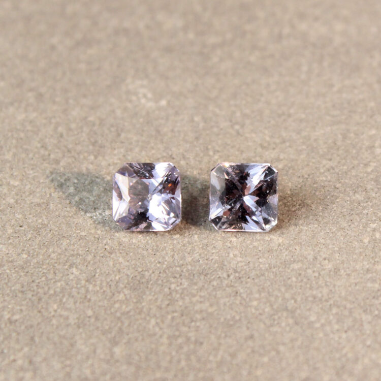 1.30 ct purplish blue radiant sapphire pair