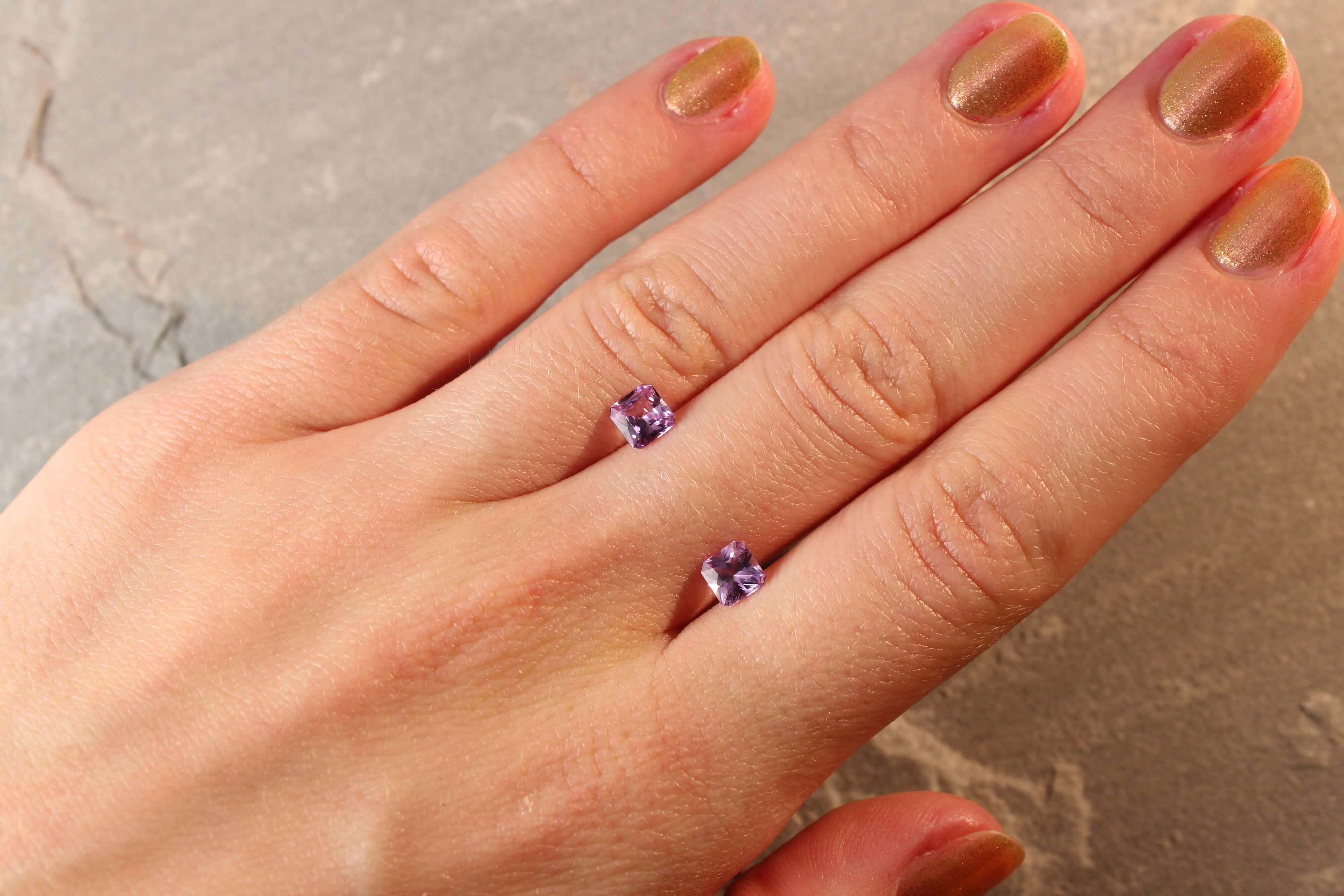 1.30 ct purple radiant sapphire pair