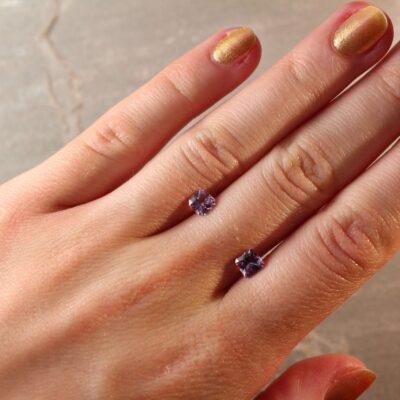 1.32 ct purple radiant sapphire pair