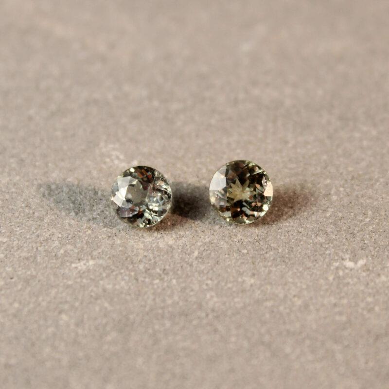 1.36 ct green round sapphire pair