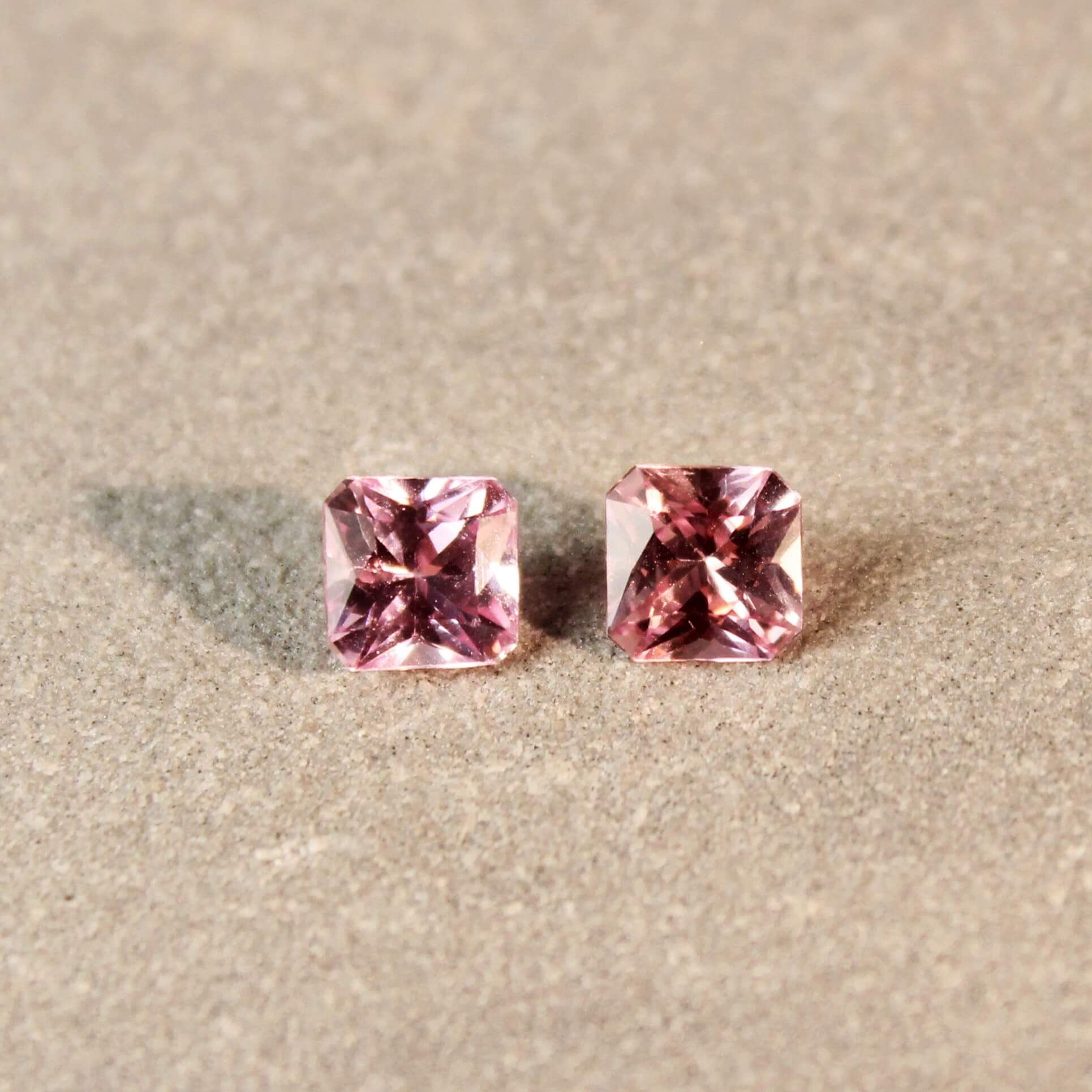 1.37 ct pink radiant sapphire pair