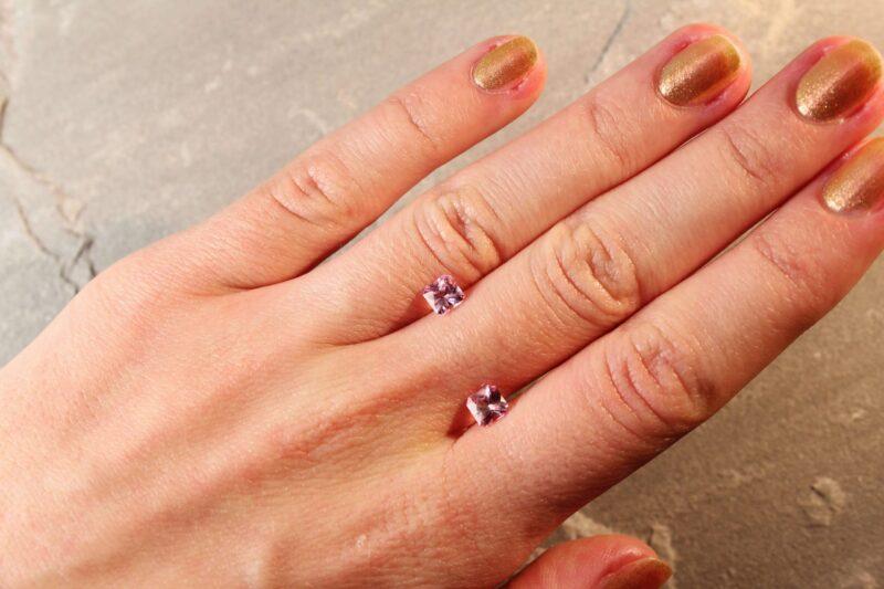 1.37 ct pink radiant sapphire pair