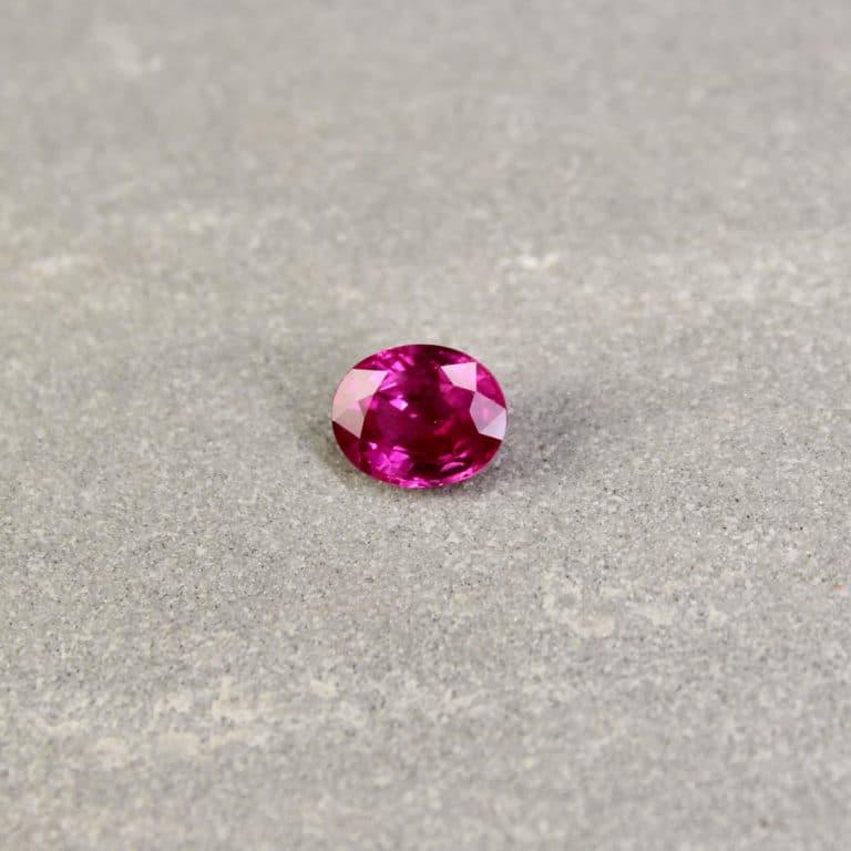 1.38 ct purplish red oval ruby