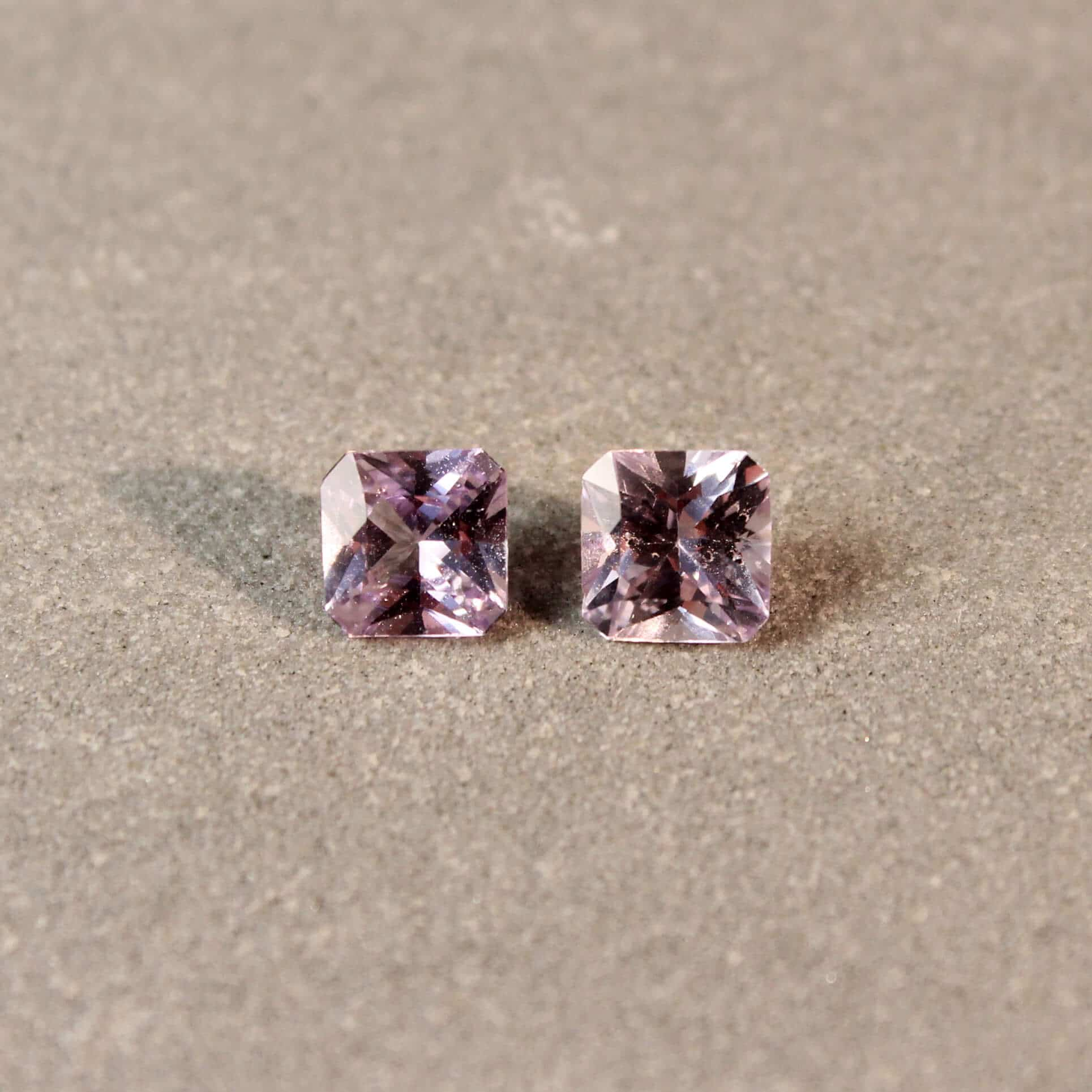 1.38 ct light purple radiant sapphire pair