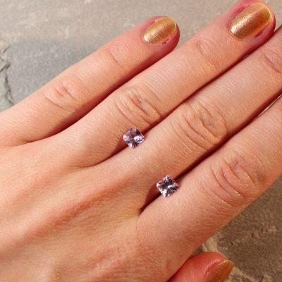 1.38 ct light purple radiant sapphire pair