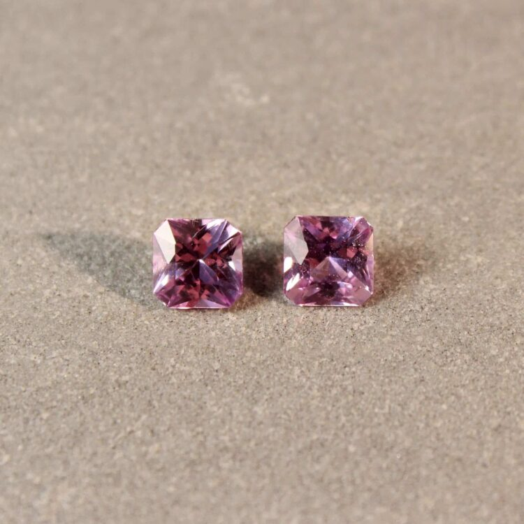 1.44 ct pink radiant sapphire pair
