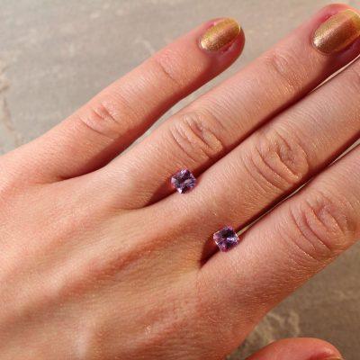 1.44 ct pink radiant sapphire pair