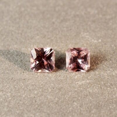 1.45 ct pink radiant sapphire pair