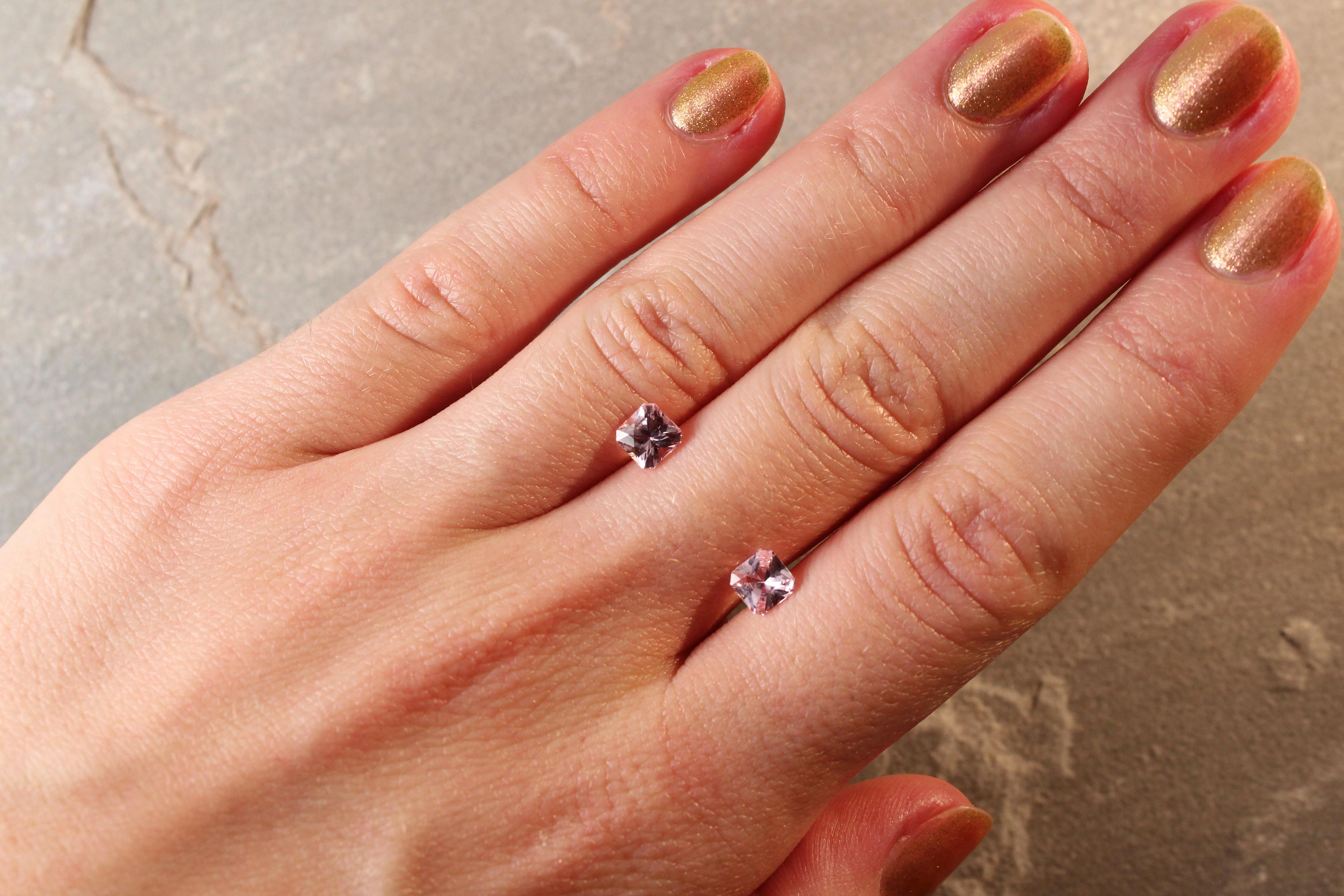 1.45 ct pink radiant sapphire pair