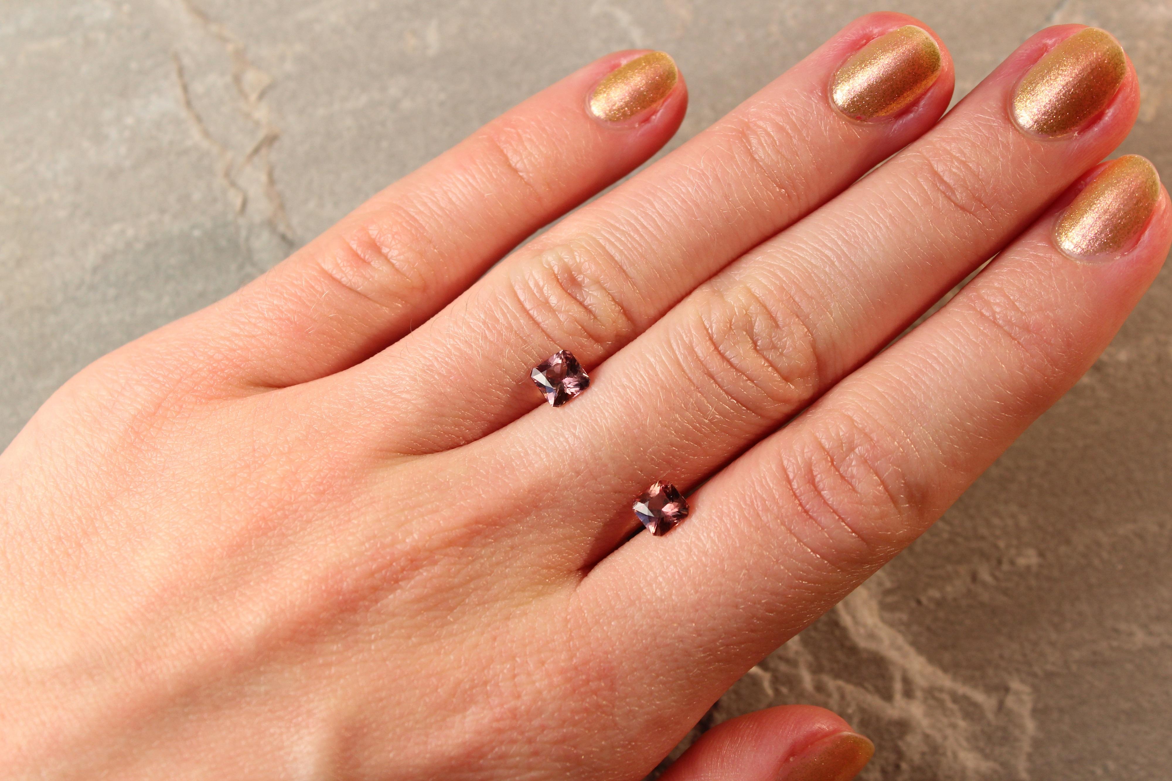 1.49 ct brownish yellow radiant sapphire pair