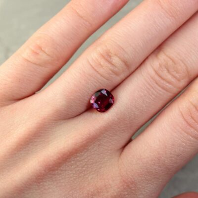 1.58 ct purplish red cushion ruby
