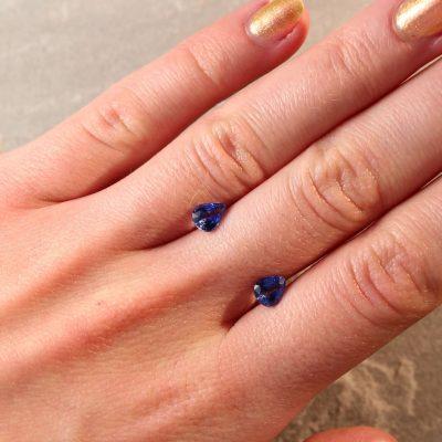 1.55 ct  blue pear shape sapphire pair