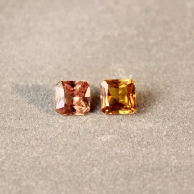 1.58 ct brownish yellow radiant sapphire pair