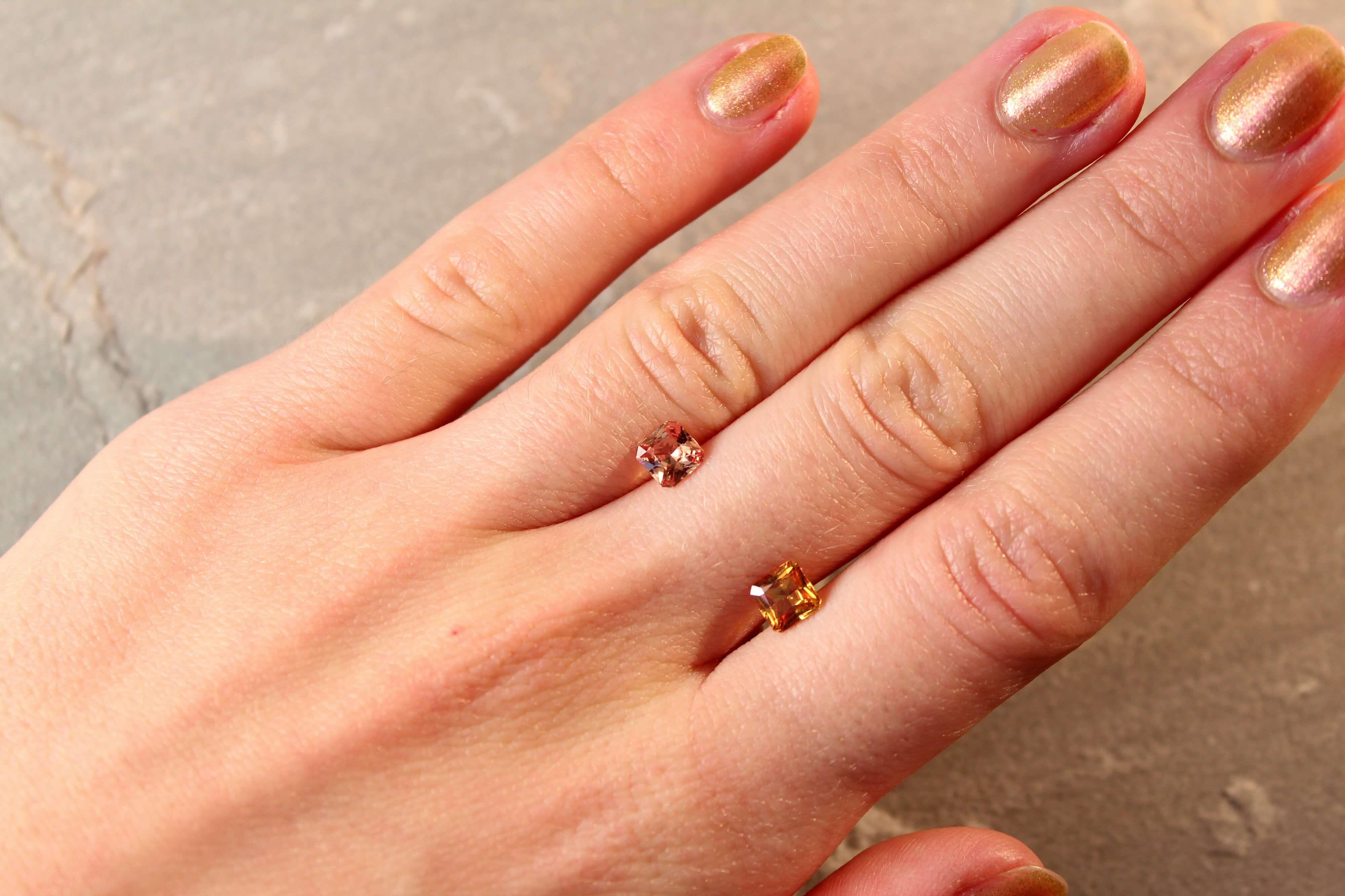 1.58 ct brownish yellow radiant sapphire pair