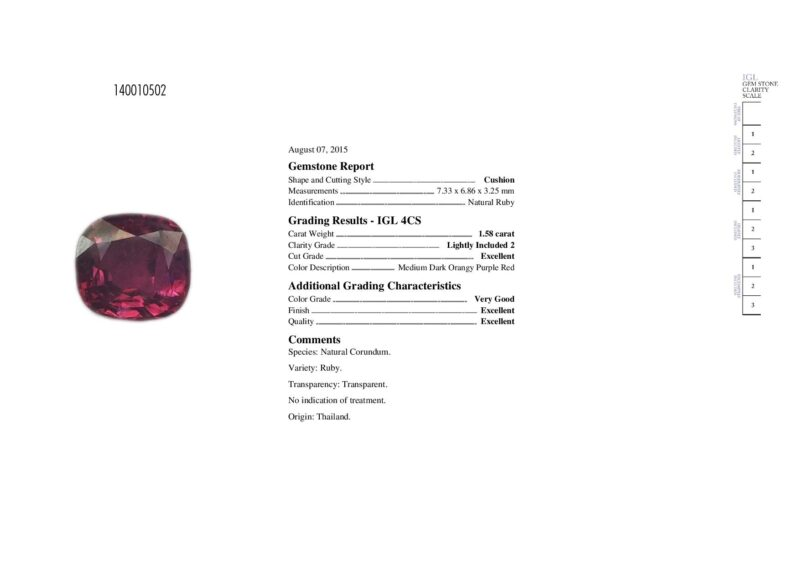 1.58 ct purplish red cushion ruby