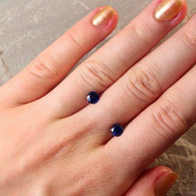 1.59 ct blue round sapphire pair