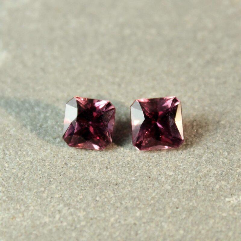 1.61 ct brownish pink radiant sapphire pair