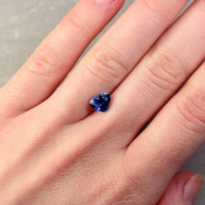 1.61 ct blue heart shape sapphire