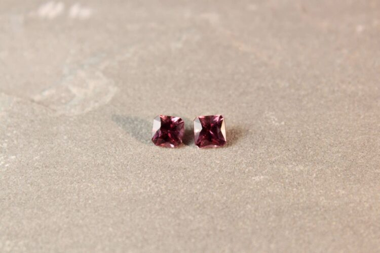 1.61 ct brownish pink radiant sapphire pair