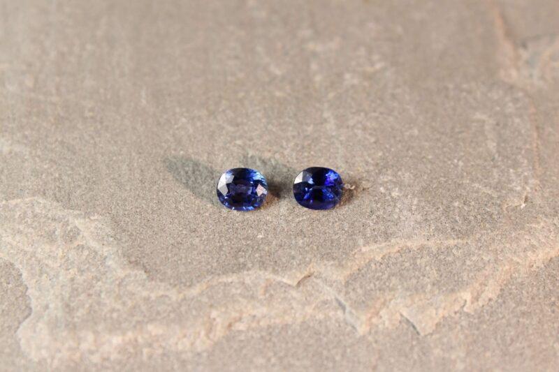 1.72 ct blue cushion sapphire pair