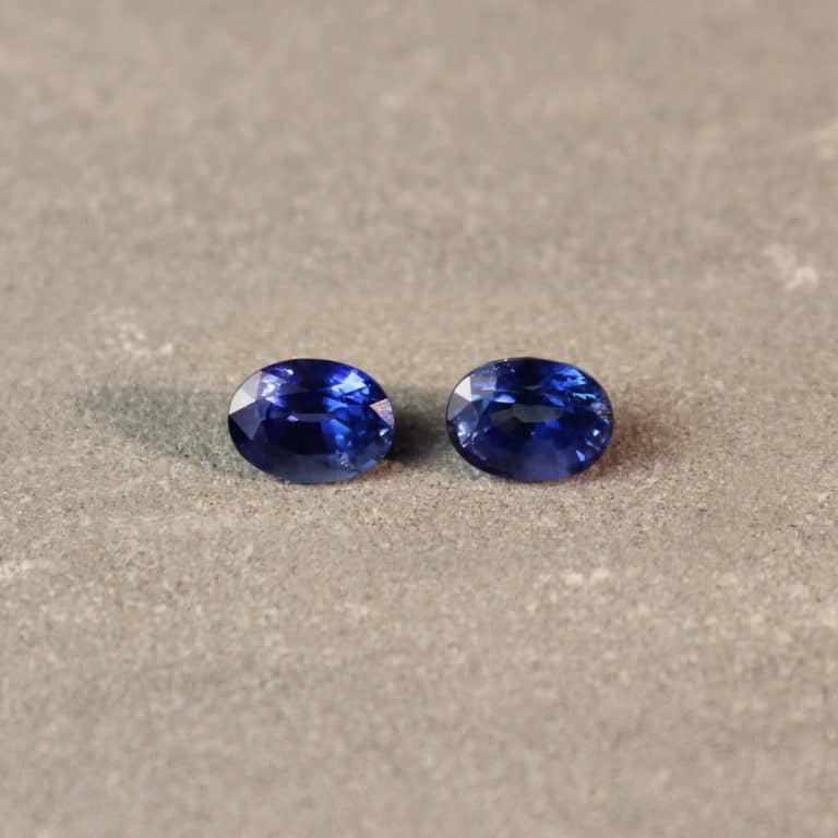 1.78 ct blue oval sapphire pair