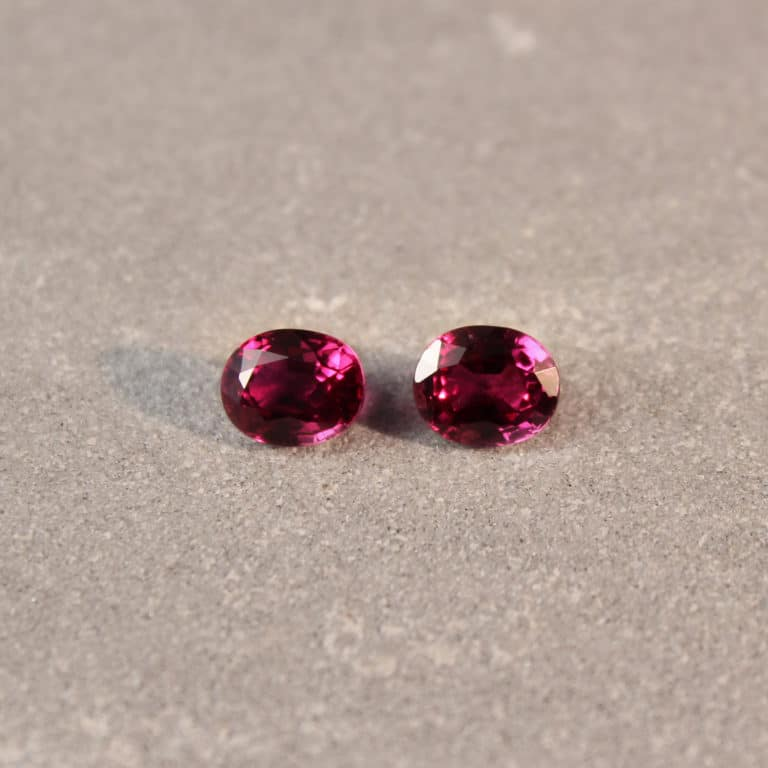 1.85 ct red oval ruby pair
