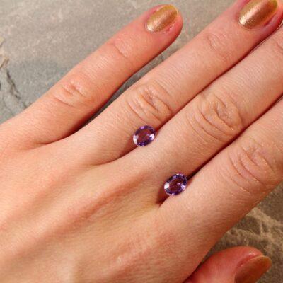 1.86 ct purple oval sapphire pair