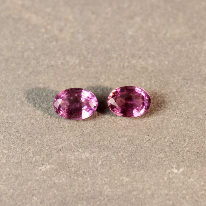 1.88 ct pink oval sapphire pair