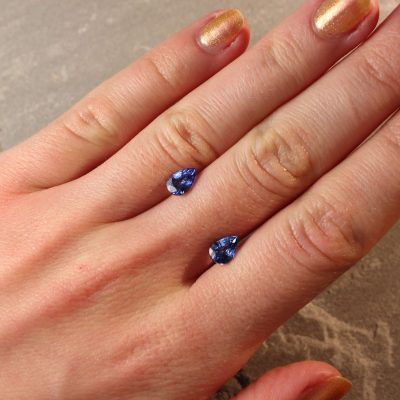1.89 ct blue pear shape sapphire pair