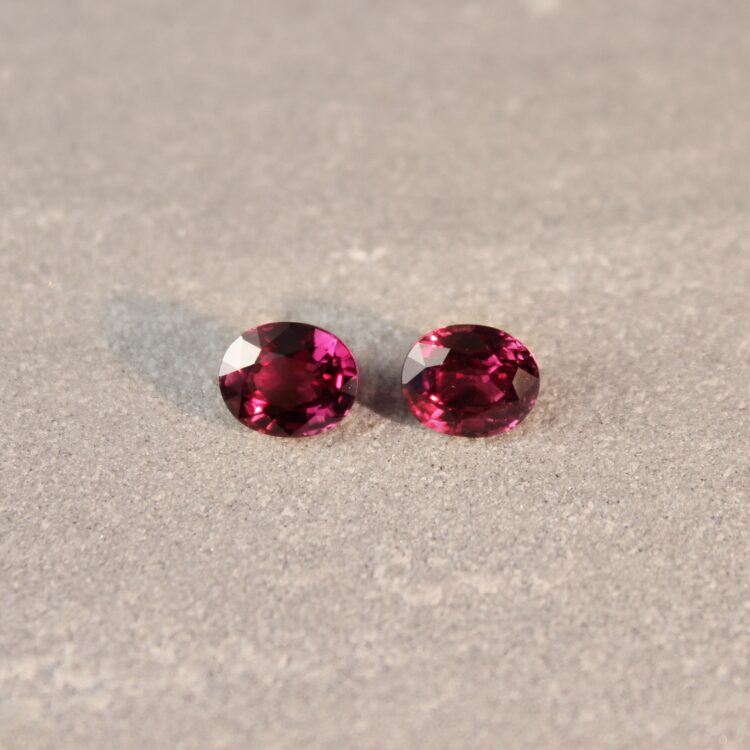 1.92 ct red oval ruby pair