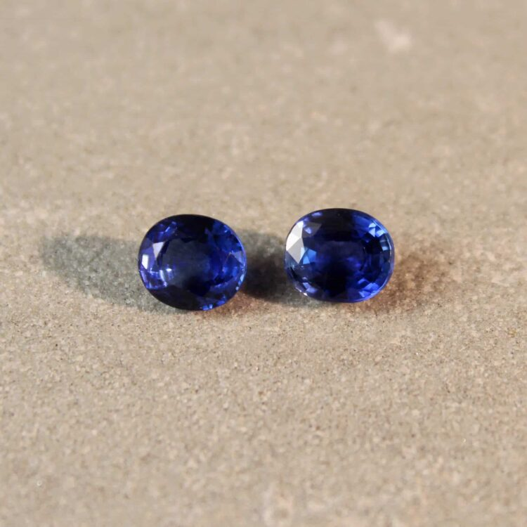 1.99 ct blue oval sapphire pair
