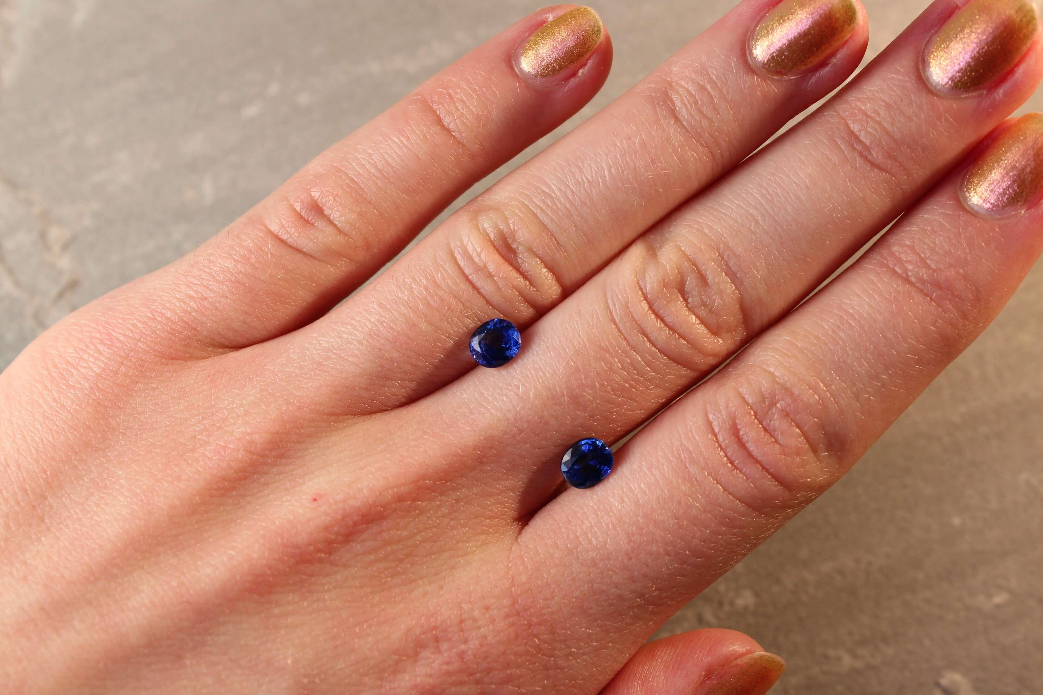 1.99 ct blue oval sapphire pair