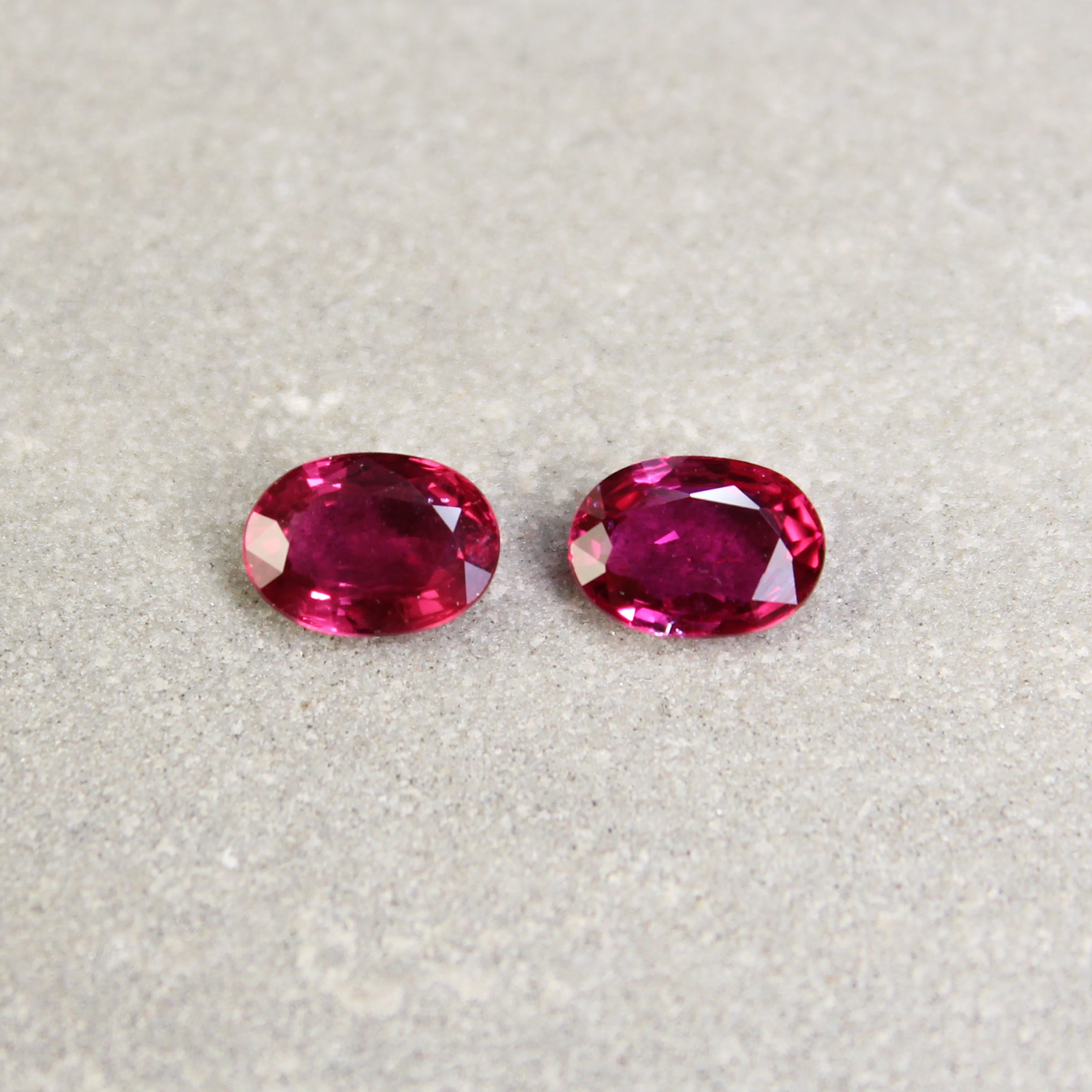 2.01 ct Red Oval Ruby Pair