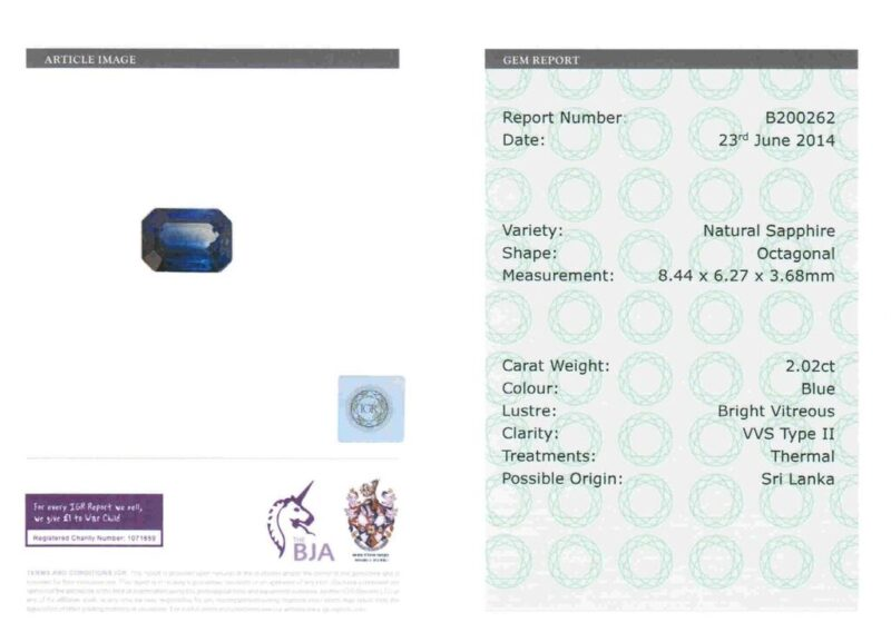 2.02 ct blue octagon sapphire