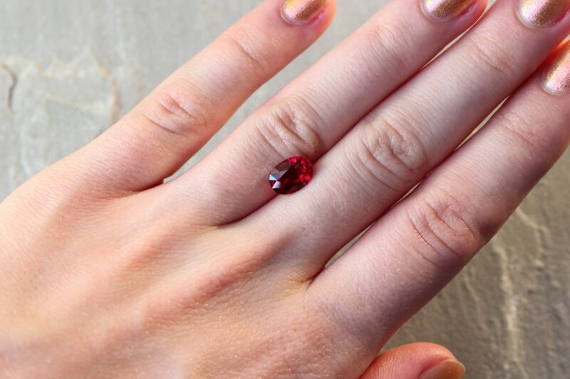 2.04 ct oval vivid red ruby