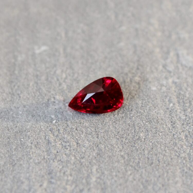2.04 ct vivid red pear ruby