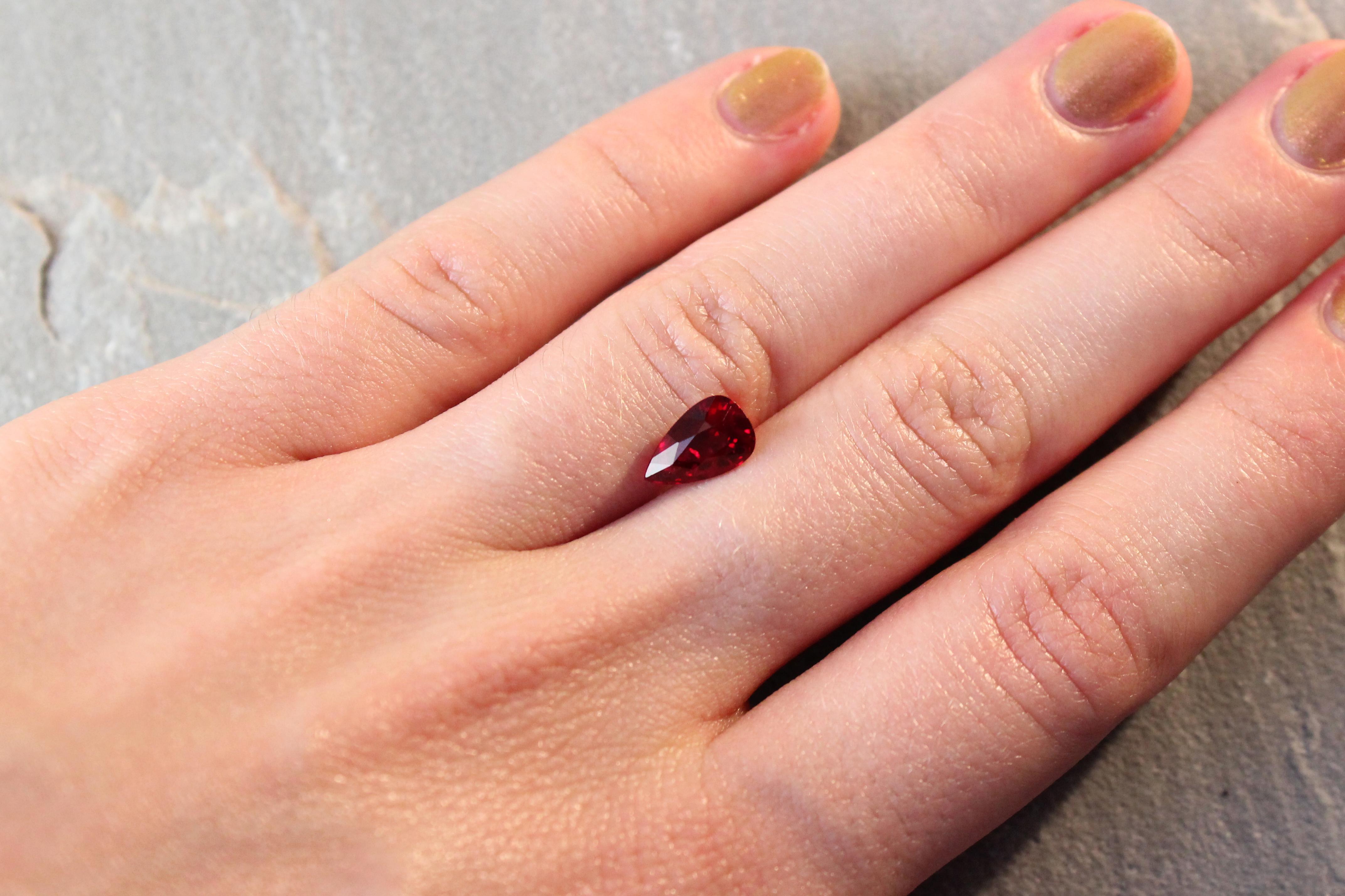 2.04 ct vivid red pear ruby