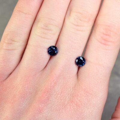 2.10 ct blue round sapphire pair