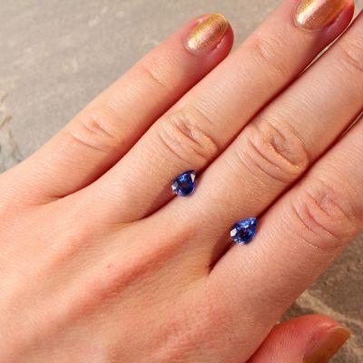2.11 ct blue pear shape sapphire pair