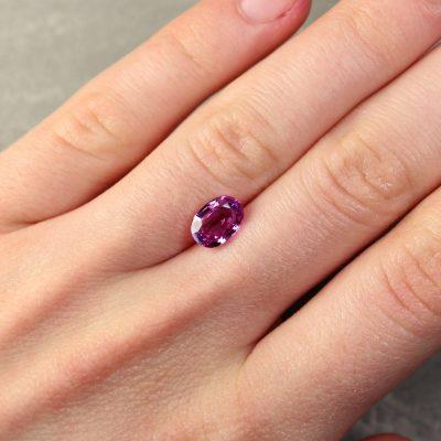 2.14 ct purple oval sapphire