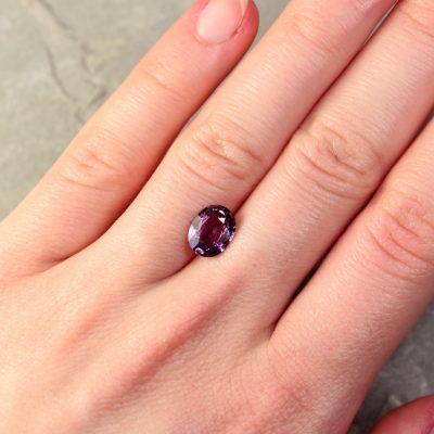 2.18 ct purple oval sapphire