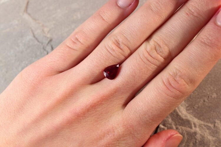 2.22 ct red pear shape ruby