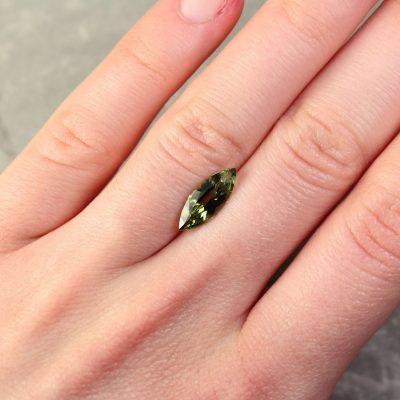 2.28 ct yellowish green marquise sapphire