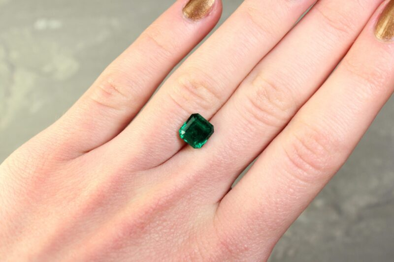 2.30 ct radiant green emerald