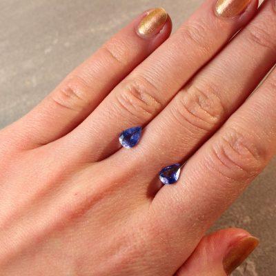 2.40 ct blue pear shape sapphire pair
