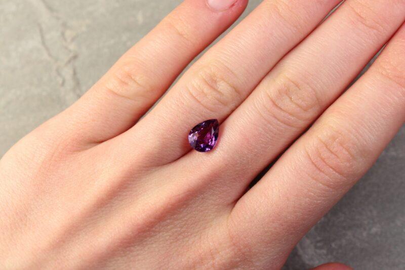 2.42 ct purple pear shape sapphire