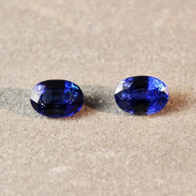 2.5 ct blue oval sapphire pair